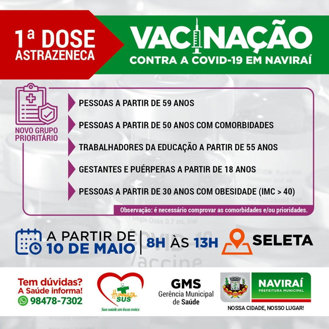 1ª DOSE ASTRAZENECA VACINAÇÃO CONTRA A COVID-19 EM NAVIRAÍ, GRUPO PRIORITÁRIO COMORBIDADES, APARTIR DE 10 MAIO DE 2021 V2